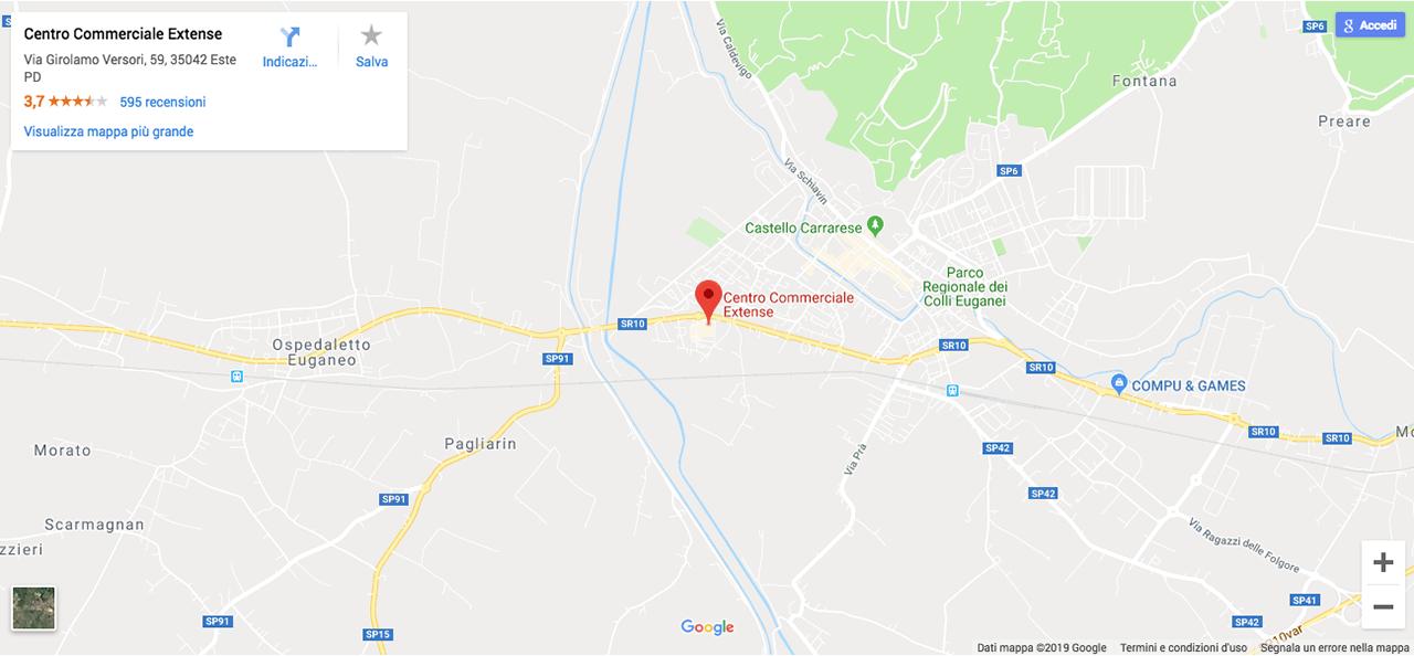 Google Maps Centro Commerciale Extense