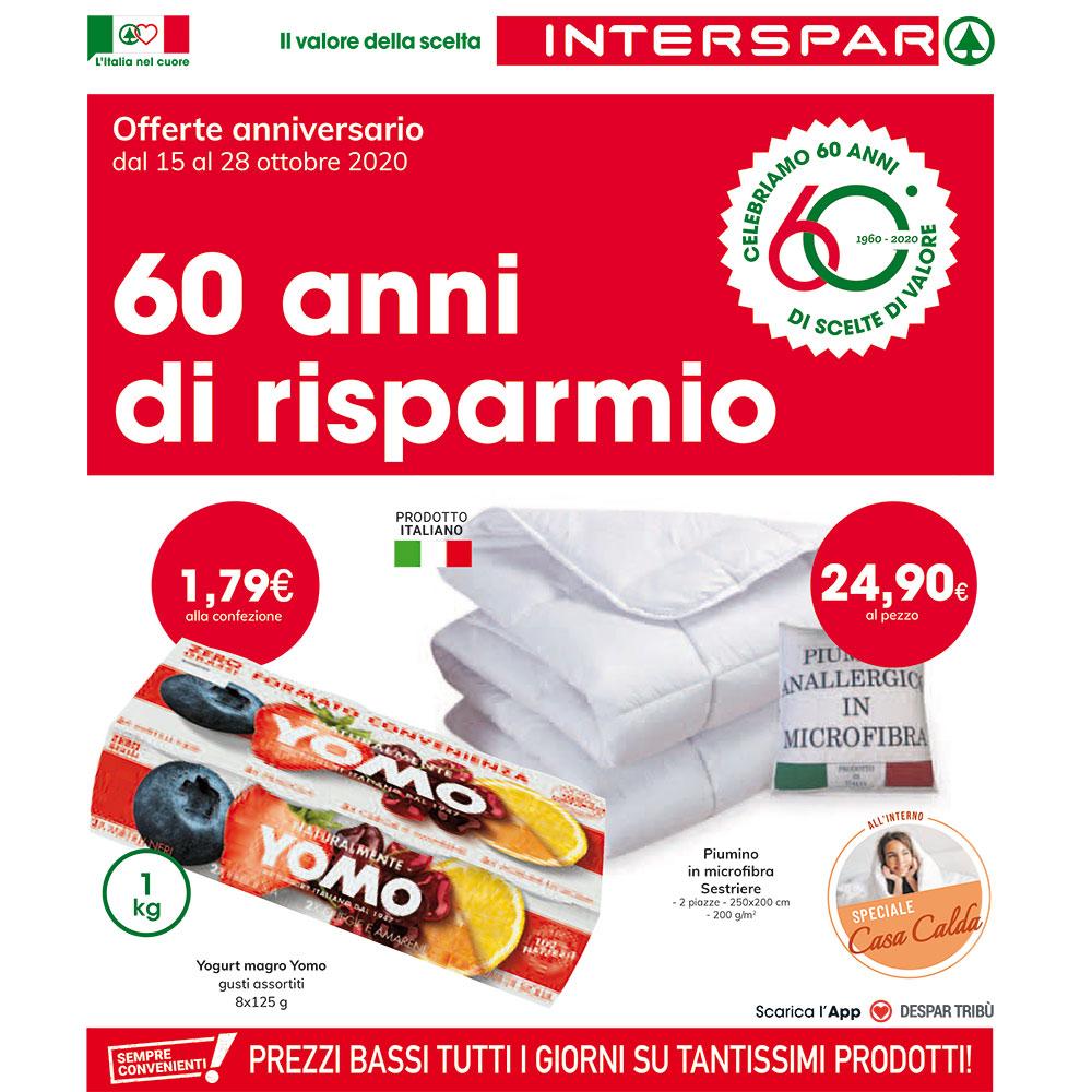 Offerta Interspar - 60 anni di risparmio - Valida dal 15 al 28 ottobre 2020