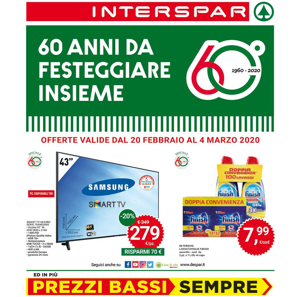 Offerta Interspar - 60 anni da festeggiare insieme - Dal 20 febbraio al 4 marzo 2020