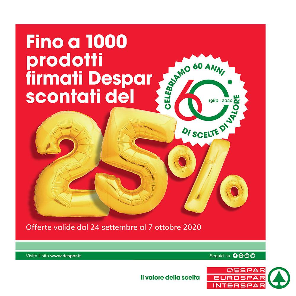 Offerta Interspar - Fino a 1000 prodotti firmati Despar scontati del 25% - Valida dal 24 settembre al 7 ottobre 2020