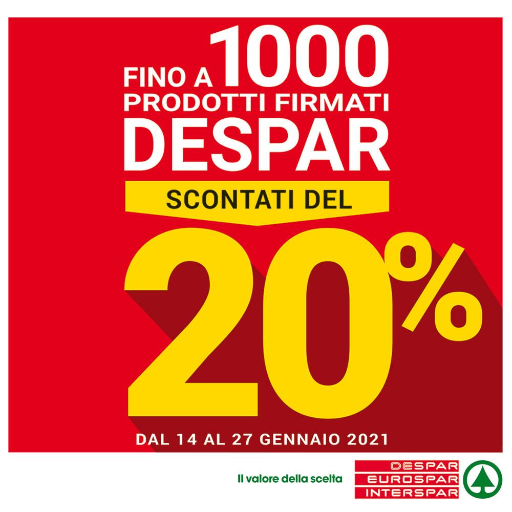 Offerta Interspar - Fino a 1000 prodotti firmati Despar scontati del 20% - Valida dal 14 al 27 gennaio 2021